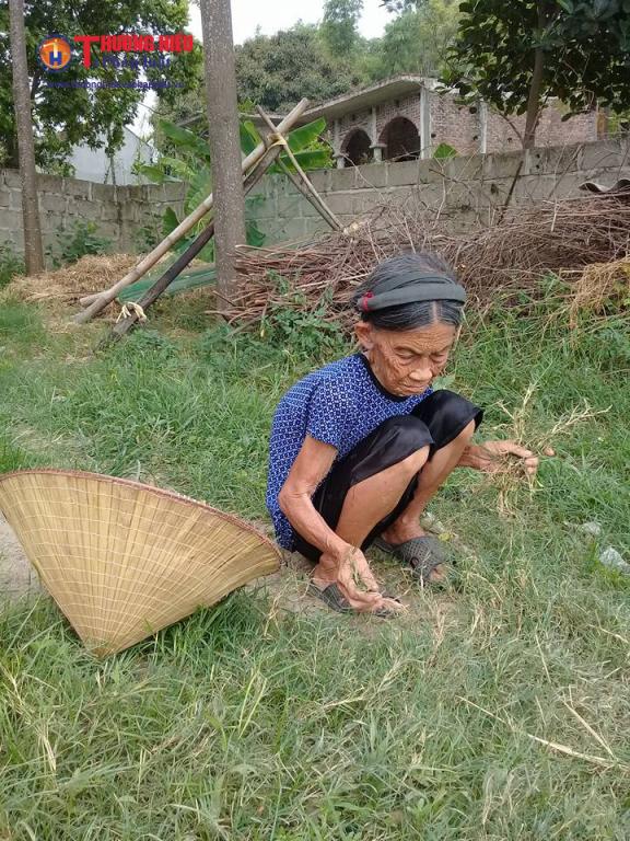 Cụ Nhượng mót từng mớ rau dại về nấu cháo cho hai mẹ con sống qua ngày.