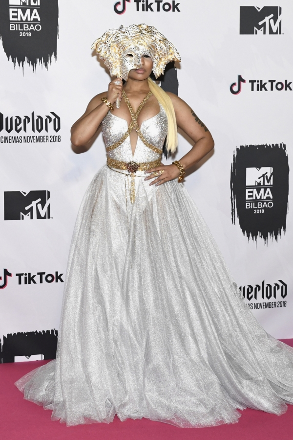 Nicki Minaj in Versace at 2018 MTV EMA Red Carpet (Nov 4) 02