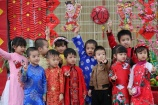 Các bé Trường Mầm non Vườn tài năng xúng xính áo dài tham gia Hội chợ Tết