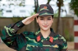 """Cởi bỏ những bộ đầm lộng lẫy, Hoa hậu Phương Khánh """"đốn tim"""" trong bộ trang phục chiến sĩ"""
