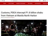 Philippines triệt phá đường dây ma túy khủng được chuyển từ Việt Nam