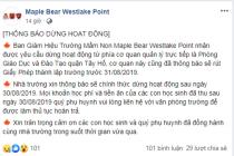Trường Mầm non Maple Bear Westlake Point dừng hoạt động sau ngày 30/8