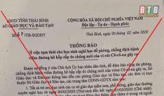 Giả mạo công văn Sở GD&ĐT Thái Bình cho học sinh nghỉ học