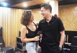 Ca sĩ Ngọc Anh và Quang Dũng cười hết cỡ trong ngày tái ngộ tại thủ đô Hà Nội