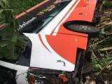 Phú Thọ: Xe khách 45 chỗ bất ngờ mất lái rồi lật nghiêng