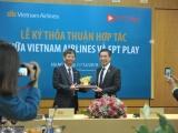 Vietnam Airlines hợp tác với FPT Telecom triển khai ứng dụng FPT Play trên chuyến bay nội địa