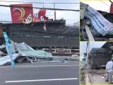 Bình Phước: Xe container tông sập 4 nhà dân