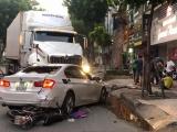 TPHCM: Xe container tông ôtô con, 4 người bị thương