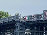 TP HCM: Cầu sắt An Phú Đông bị xà lan đâm sụp mố cầu