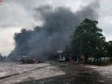 Quảng Trị: Cháy lớn tại kho Hải quan Densavan gần cửa khẩu Lao Bảo